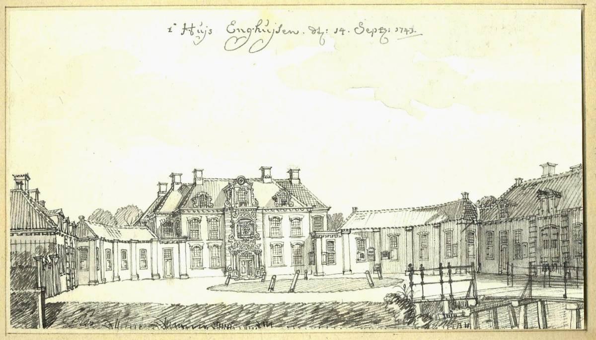 Enghuizen in Hummelo. Tekening Jan de Beijer, 1743
